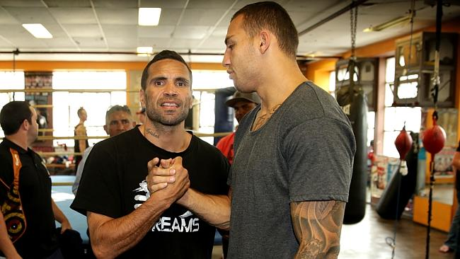 Anthony Mundine and Blake Ferguson after Mundines press conference in his Redfern Gym ,  after Shane Mosley left the country before their scheduled  fight on Wednesday night . Picture Gregg Porteous